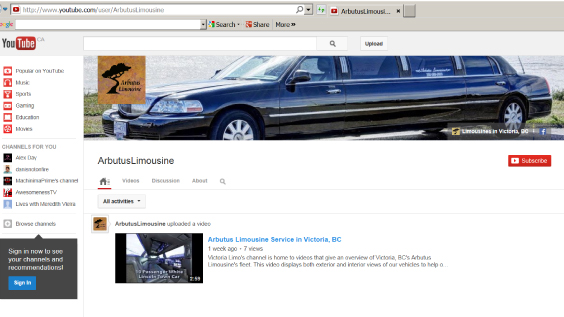 Limousine-Youtube-Page
