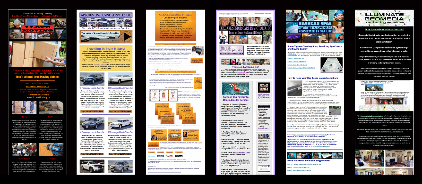 Newsletters created to promote your service